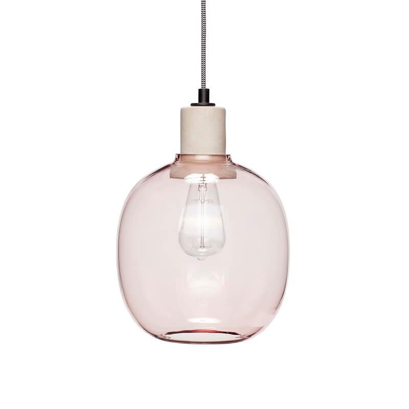 Hubsch Interior - Hanglamp van roze glas en fitting van beton - (950413)