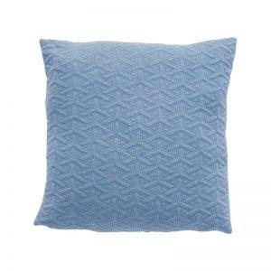 Hubsch Interior - Lichtblauw sierkussen met zeshoekig patroon, polyester - 50x50cm - (200309)
