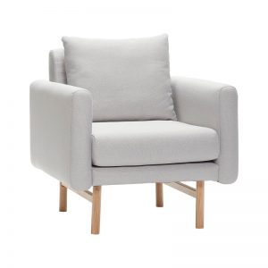 Hubsch Interior - Lichtgrijze fauteuil met eiken poten 80x77xh80cm - (100605)