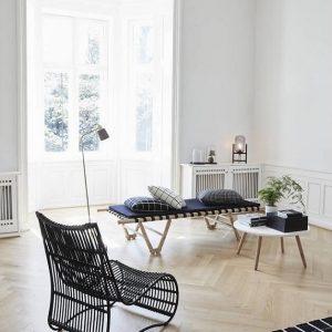 Hubsch Interior - Loungestoel van zwart rotan - 58x86xh89cm - (310308)