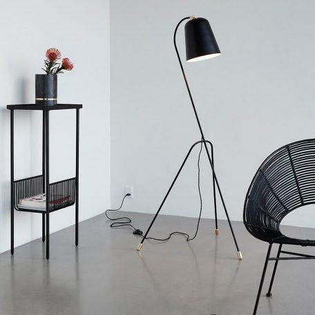 Hubsch Interior - Verstelbare vloerlamp mat zwart en messing - (990607)