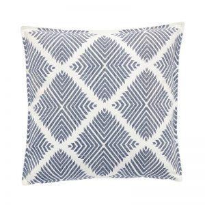 Hubsch Interior - Wit sierkussen met blauw patroon, katoen - 50x50cm - (500207)