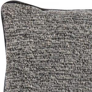 Hubsch Interior - Zwart gemeleerd sierkussen met zwarte bies - 45x45cm - (139043)
