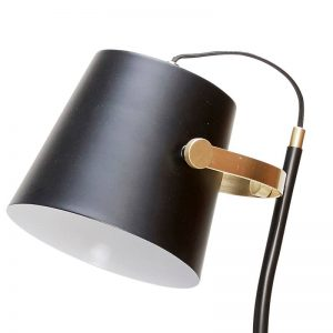 Hubsch Interior - Zwarte verstelbare vloerlamp met messing accenten - 25x36xh140cm - (990304)