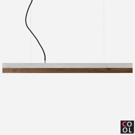 GANTlights C2 - Betonnen hanglamp met walnoot kap - 92x7xh7cm