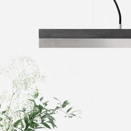 GANTlights C2 - Donkergrijs betonnen hanglamp met RVS kap - 92x7xh7cm