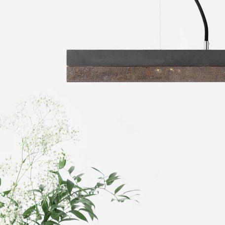 GANTlights C2 - Donkergrijs betonnen hanglamp met cortenstaal kap - 92x7xh7cm