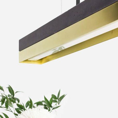 GANTlights C2 - Donkergrijs betonnen hanglamp met kap van messing - 92x7xh7cm