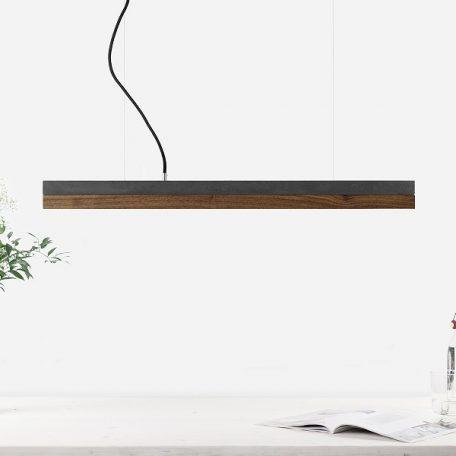 GANTlights C2 - Donkergrijs betonnen hanglamp met walnoot kap - 92x7xh7cm