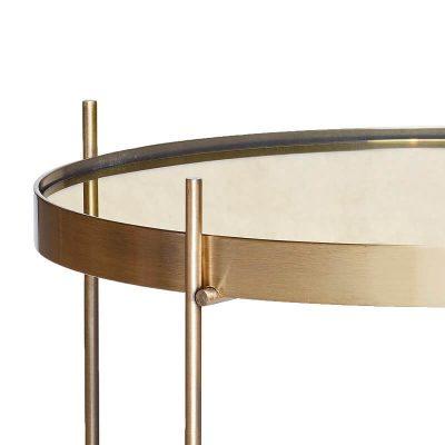 Hubsch Interior - Goudkleurige bijzettafel van metaal met spiegelblad - (930404)