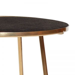 Hubsch Interior - Goudkleurige ronde bijzettafel met zwart marmer blad (670320)