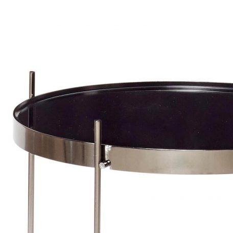 Hubsch Interior - Grijze bijzettafel van metaal met spiegelblad - (930402)
