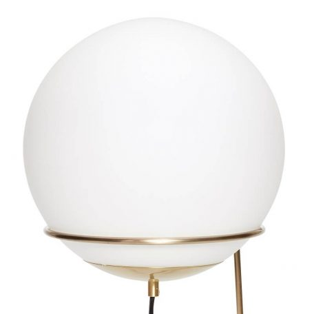 Hubsch Interior - Messing vloerlamp met bol van melkglas - (890605)