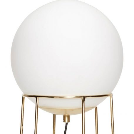 Hubsch Interior - Messing vloerlamp met melkglazen bol - (890606)