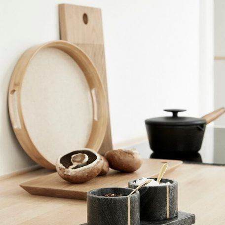 Hubsch Interior - Ronde dienbladen set van bamboe en linnen - (240501)