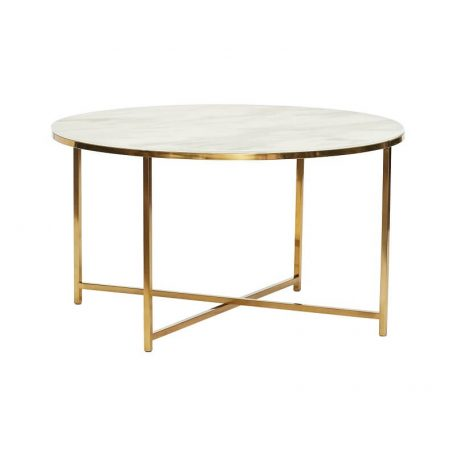 Salon Tafel Messing.Hubsch Interior Ronde Messing Salontafel Met Marmer Effect Blad 80xh40cm