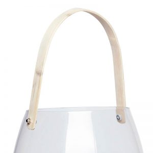 Hubsch Interior - Windlicht van glas, bamboe handvat - LARGE - (950306)