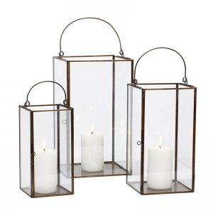 Hubsch Interior - Windlichten set van glas en messing - (407015)