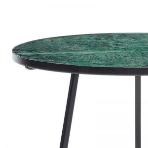 Hubsch Interior - Zwart metalen bijzettafel met groen marmer blad (670207)