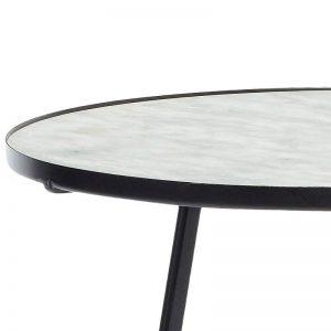 Hubsch Interior - Zwart metalen bijzettafel met wit marmer blad (670208)