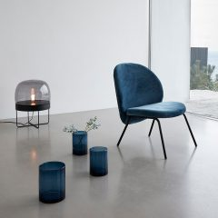Hubsch Interior - Zwart metalen vloerlamp met glazen kap - (990605)