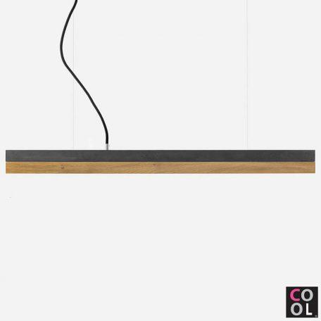 GANTlights C2 - Donkergrijs betonnen hanglamp met eiken kap - 92x7xh7cm