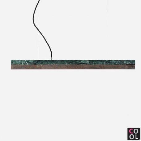 GANTlights C2 - Hanglamp van groen marmer met cortenstaal kap - 92x7xh7cm