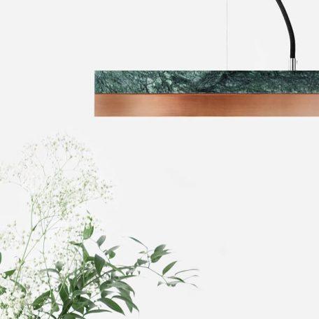 GANTlights C2 - Hanglamp van groen marmer met kap van koper - 92x7xh7cm