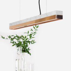 GANTlights C2 - Hanglamp van wit marmer met kap van koper - 92x7xh7cm