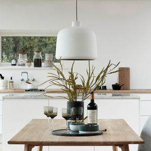 Hubsch Interior - Mat witte hanglamp, koper (060502)