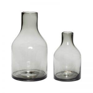Hubsch Interior - Set vazen van grijs glas(280607)