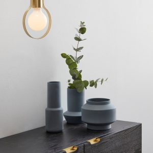 Hubsch Interior - Vazen, potten van blauw keramiek - set van 3 stuks (320602)