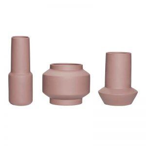 Hubsch Interior - Vazen, potten van bruin keramiek - set van 3 stuks (320601)