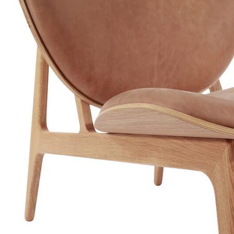 NORR11 - ELEPHANT CHAIR Eiken fauteuil bekleed met Vintage leer- Naturel_Camel