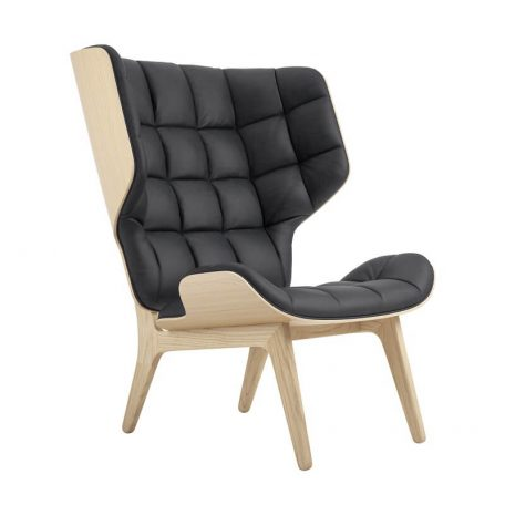 NORR11 MAMMOTH CHAIR - Naturel Eiken oorfauteuil bekleed met Antraciet Vintage leer