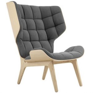 NORR11 - MAMMOTH CHAIR - Naturel eiken oorfauteuil bekleed met Zwart Canvas