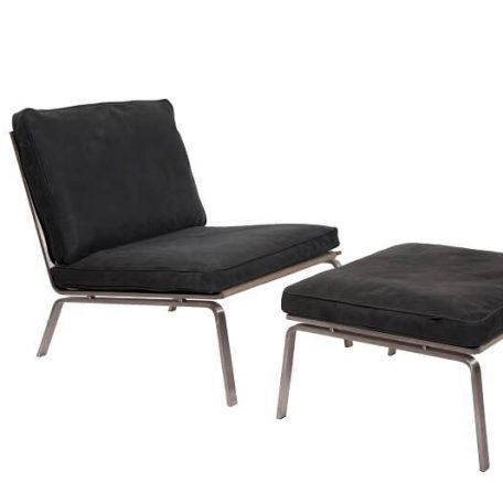 NORR11 - MAN Lounge - RVS lounge chair bekleed met Antraciet Vintage leer