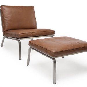 NORR11 - MAN Lounge - RVS lounge chair bekleed met Cognac Vintage leer