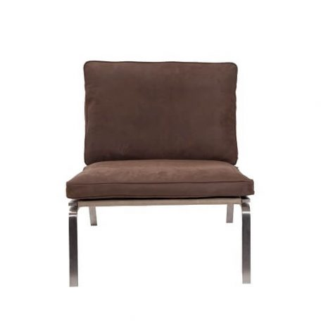 NORR11 - MAN Lounge - RVS lounge chair bekleed met Donkerbruin Vintage leer