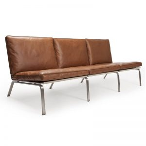 NORR11 - MAN Three Seater - RVS bankje bekleed met Cognac Vintage leer