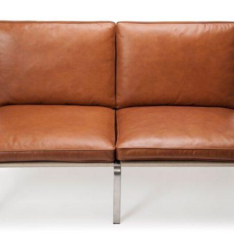 NORR11 - MAN Two Seater - RVS bankje bekleed met Cognac Vintage leer