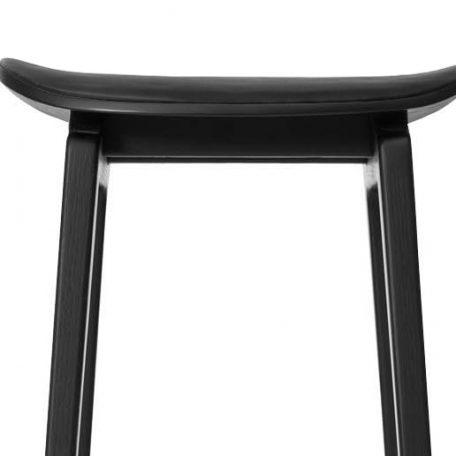 NORR11 - NY11 Zwart eiken barstoel, barkruk met leren zitting van Zwart Premium leer