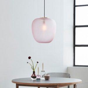 Hubsch Interior - Hanglamp van roze glas en messing - 40xh45cm (990701)