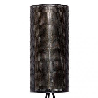 Hubsch Interior - Vloerlamp van zwart metaalgaas en messing - 990724