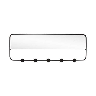 Hubsch Interior - Zwart metalen kapstok met spiegel - 940620