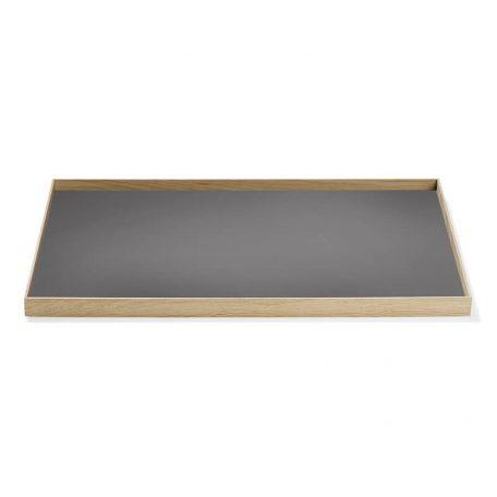 MUNK Collective - FRAME Tray Large - Eiken dienblad met grijs blad