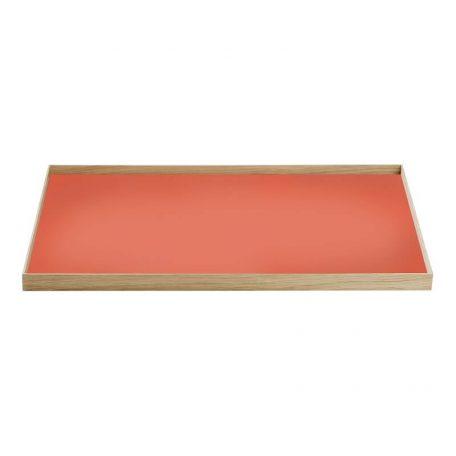 MUNK Collective - FRAME Tray Large - Eiken dienblad met rood blad