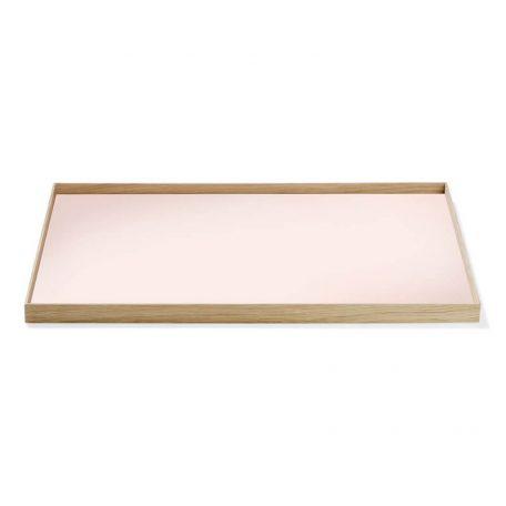 MUNK Collective - FRAME Tray Large - Eiken dienblad met roze blad