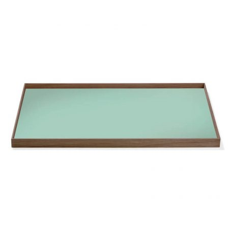 MUNK Collective - FRAME Tray Large - Walnoot dienblad met groen blad