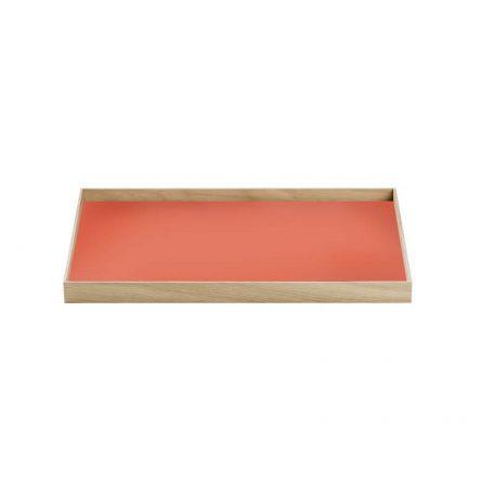 MUNK Collective - FRAME Tray Medium - Eiken dienblad met rood blad